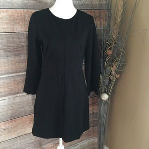 EVERLANE BLACK STRETCH LONG SLEEVE DRESS